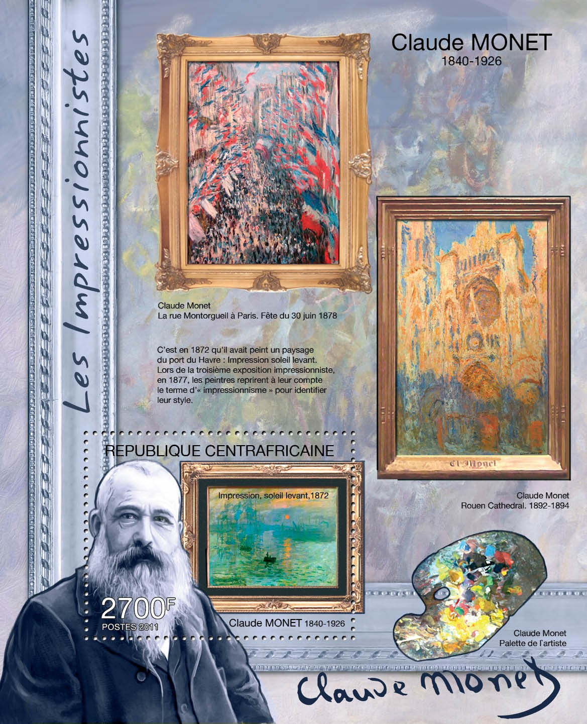 Impressionists, (Claude Monet). - Issue of Central African republic postage stamps