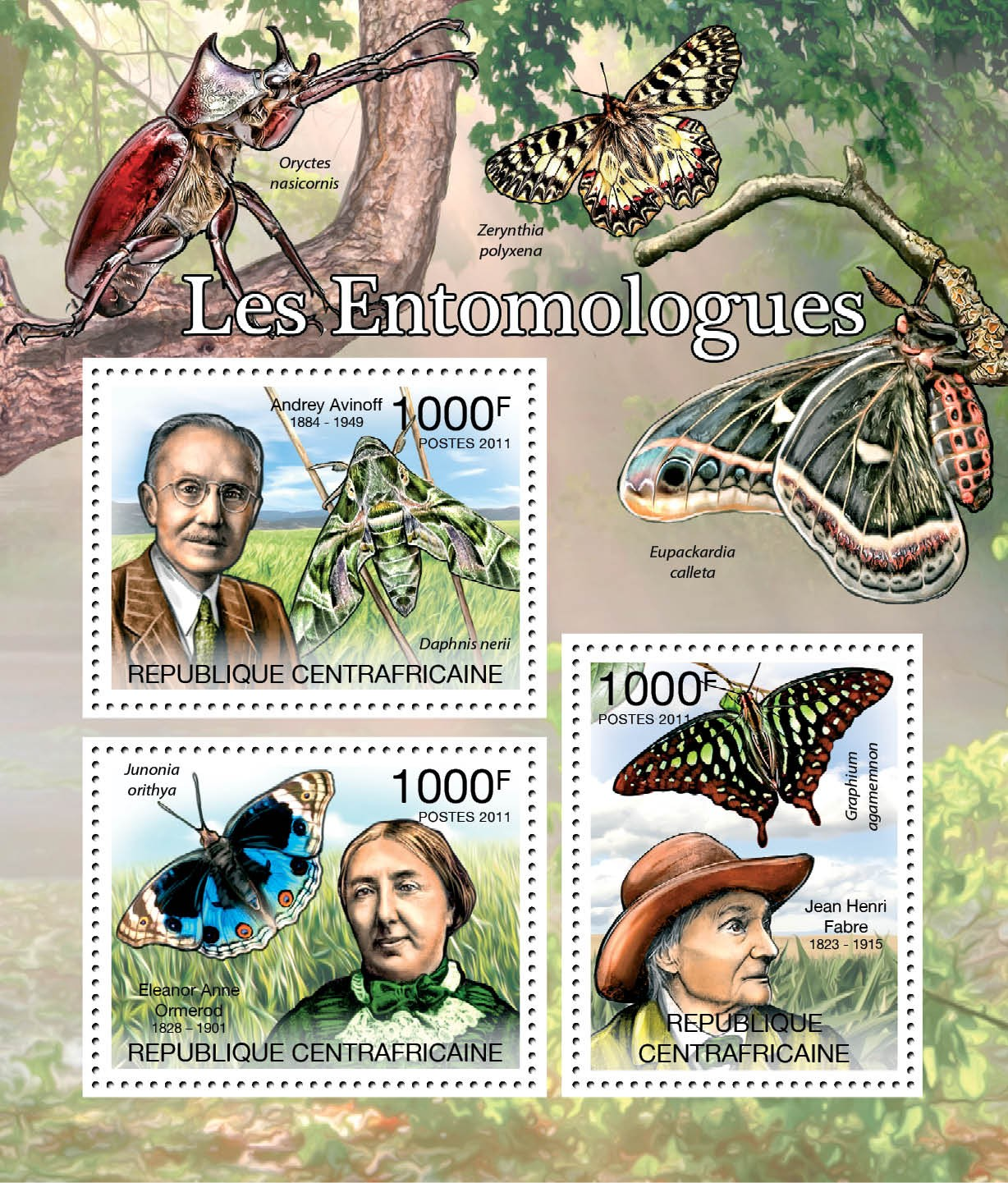 Entomologists & Butterflies, (A.Ainoff, E.A.Ormerod, J.H.Fabre). - Issue of Central African republic postage stamps