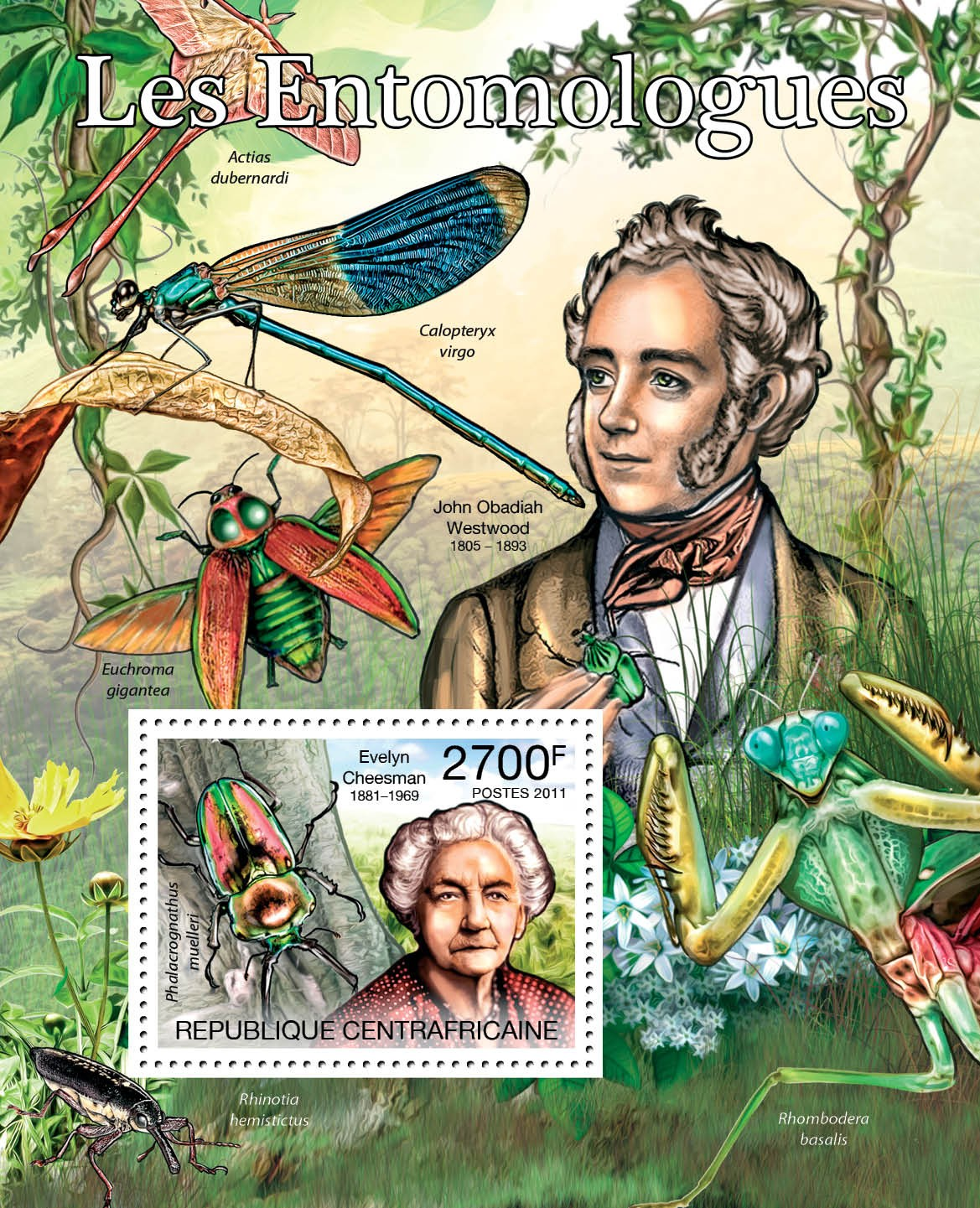Entomologists & Butterflies, (Evelyn Cheesman). - Issue of Central African republic postage stamps