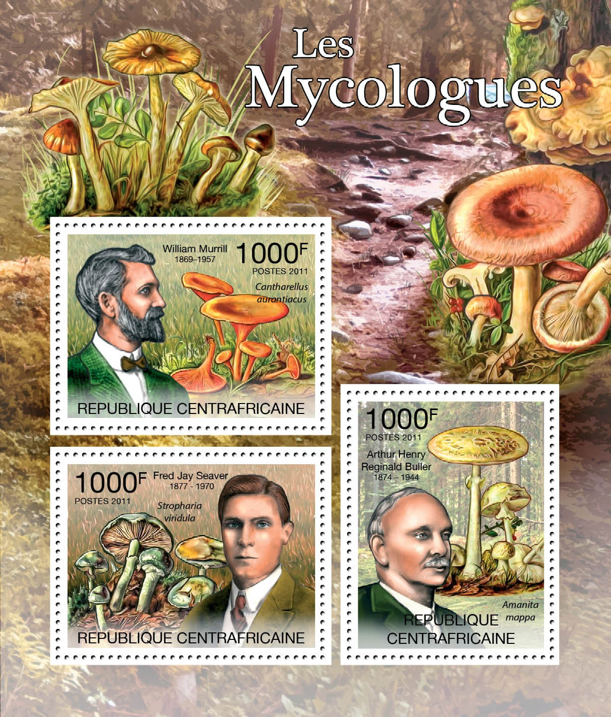 Mycologists & Mushrooms, (W.Murrill, F.j.Seaver,  A.H.R.Buller) - Issue of Central African republic postage stamps