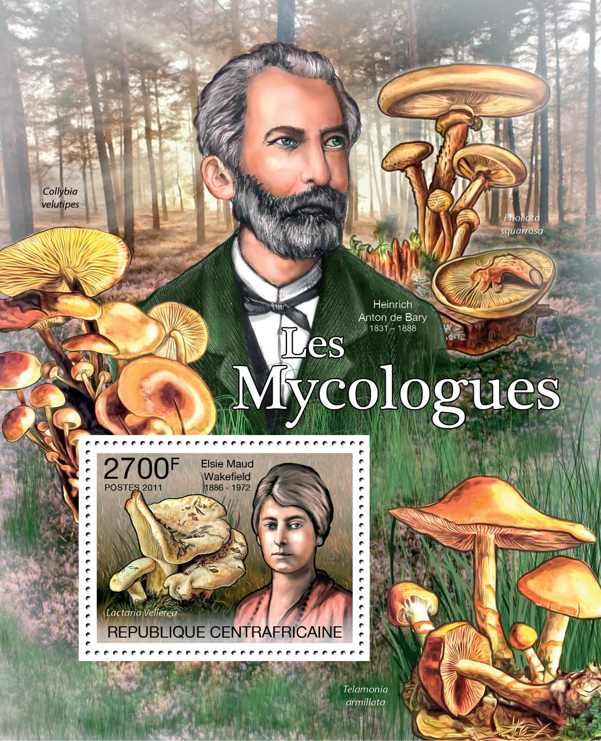 Mycologists & Mushrooms, (E.M.Wakefield). - Issue of Central African republic postage stamps