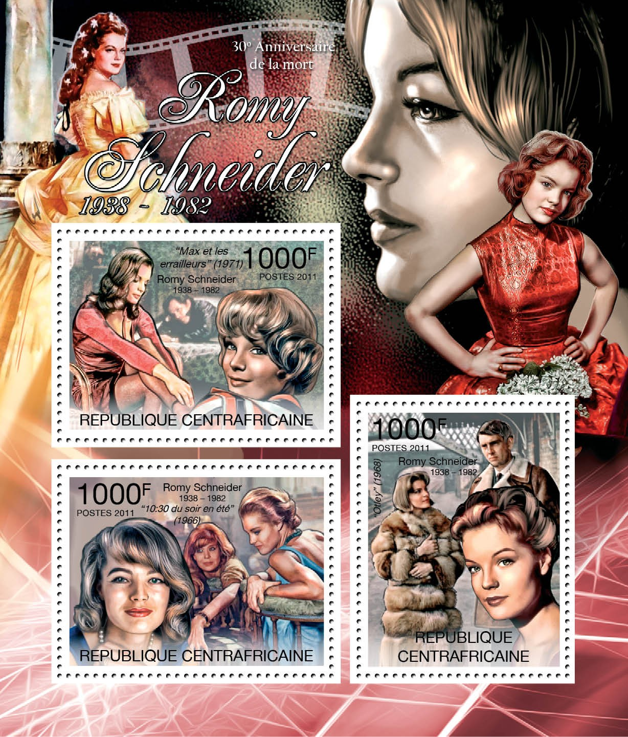 Romy Schneider, (1938-1982). - Issue of Central African republic postage stamps