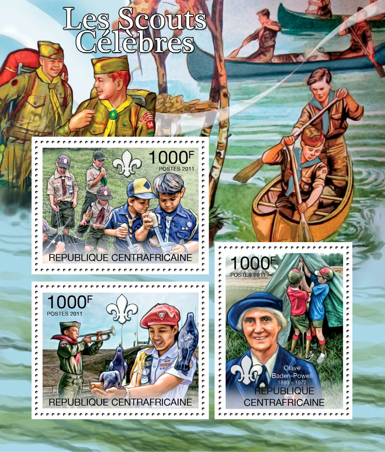 Famous Scouts, (Olave Baden-Powell). - Issue of Central African republic postage stamps