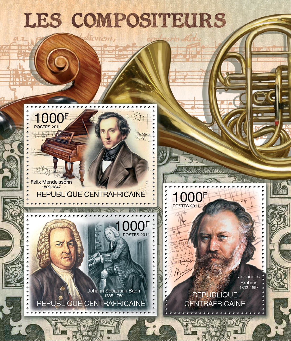 Compositors, (F.Mendelson, J.S.Bach, J.Brahms). - Issue of Central African republic postage stamps
