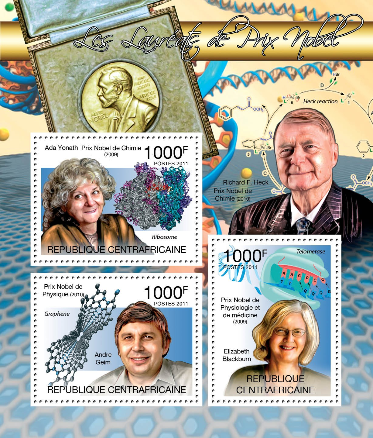 Winers of Nobel Prize, (A.Yonath, A.Geim, E.Blackburn). - Issue of Central African republic postage stamps