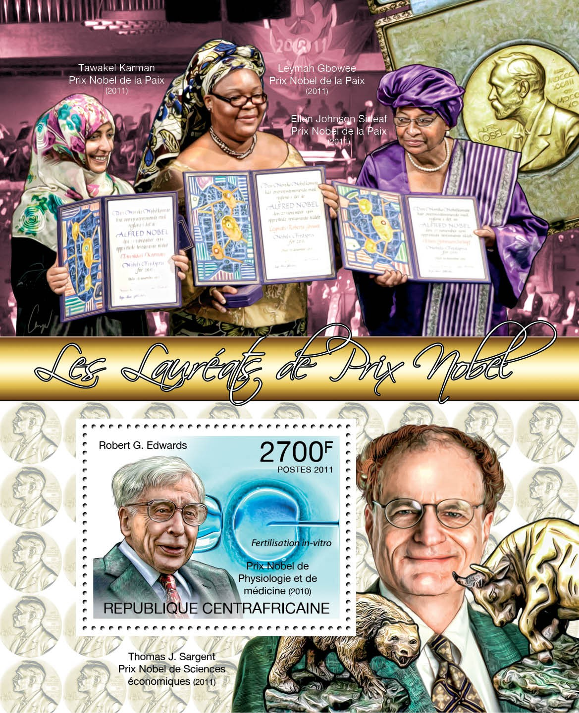 Winers of Nobel Prize, (Robert G.Edwards). - Issue of Central African republic postage stamps