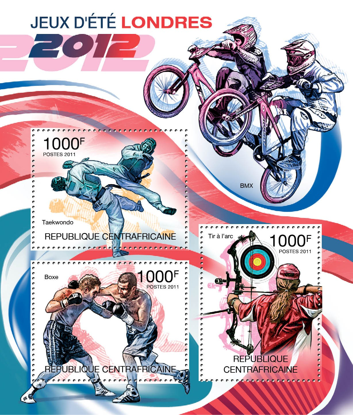 Summer Olympic Games - London 2012. - Issue of Central African republic postage stamps