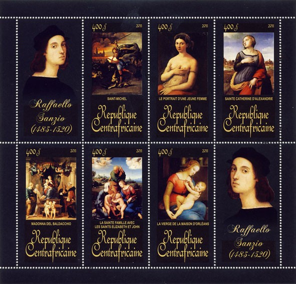 Paintings of Raffaello Sanzio, (1483-1520). (Saint-Michel, La Vierge de la Maison d'orleans) - Issue of Central African republic postage stamps