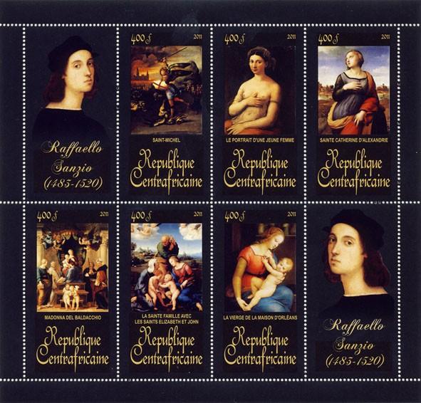 Paintings of Raffaello Sanzio, (1483-1520). (Saint-Michel, La Vierge de la Maison d'orleans) - Issue of Central African republic postage stamps