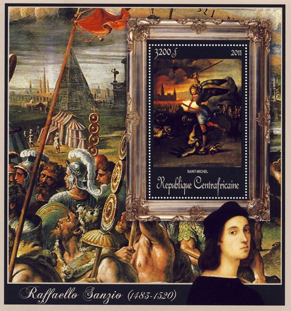 Special Block of Paintings of Raffaello Sanzio, (Saint-Michel). - Issue of Central African republic postage stamps