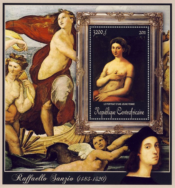 Special Block of Paintings of Raffaello Sanzio, (Le Portrait d - Issue of Central African republic postage stamps