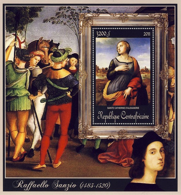 Special Block of Paintings of Raffaello Sanzio, (Sainte Catherine D - Issue of Central African republic postage stamps