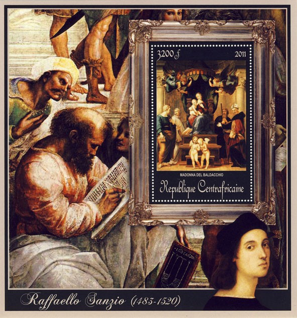 Special Block of Paintings of Raffaello Sanzio, (Madonna del Baldacchio). - Issue of Central African republic postage stamps