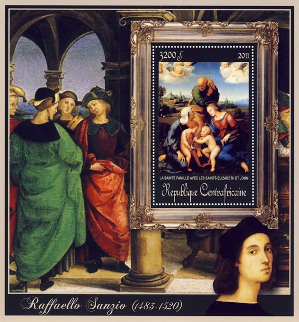 Special Block of Paintings of Raffaello Sanzio, (La Sainte Famille). - Issue of Central African republic postage stamps