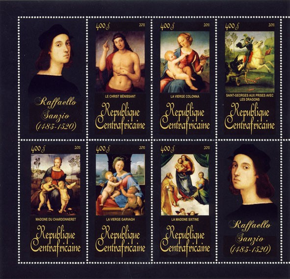 Paintings of Raffaello Sanzio, (1483-1520).(Le Christ Benissant, La Madone Sixtine). - Issue of Central African republic postage stamps