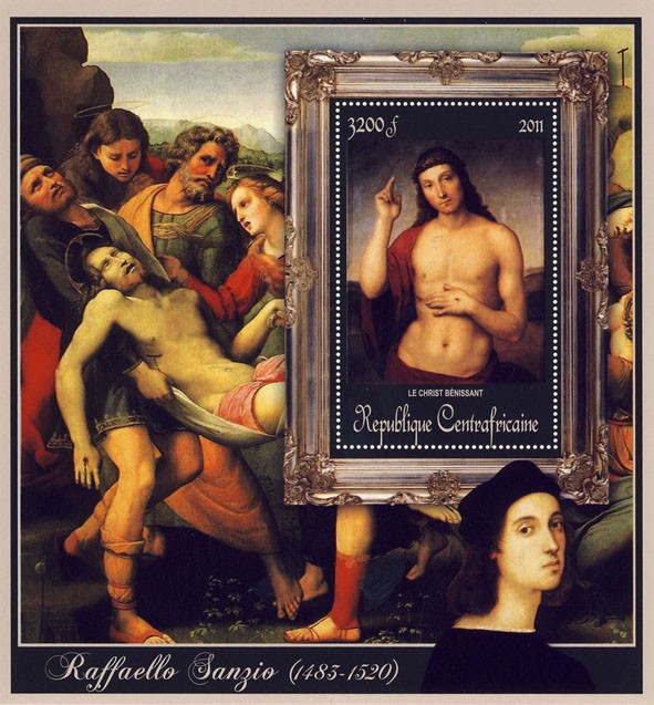 Special Block of Paintings of Raffaello Sanzio, (Le Christ Benissant). - Issue of Central African republic postage stamps