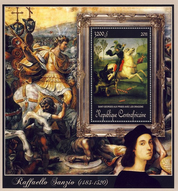 Special Block of Paintings of Raffaello Sanzio, (Saint-Georges). - Issue of Central African republic postage stamps