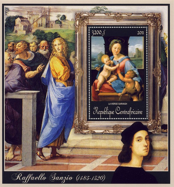 Special Block of Paintings of Raffaello Sanzio, (La Vierge Garvagh). - Issue of Central African republic postage stamps