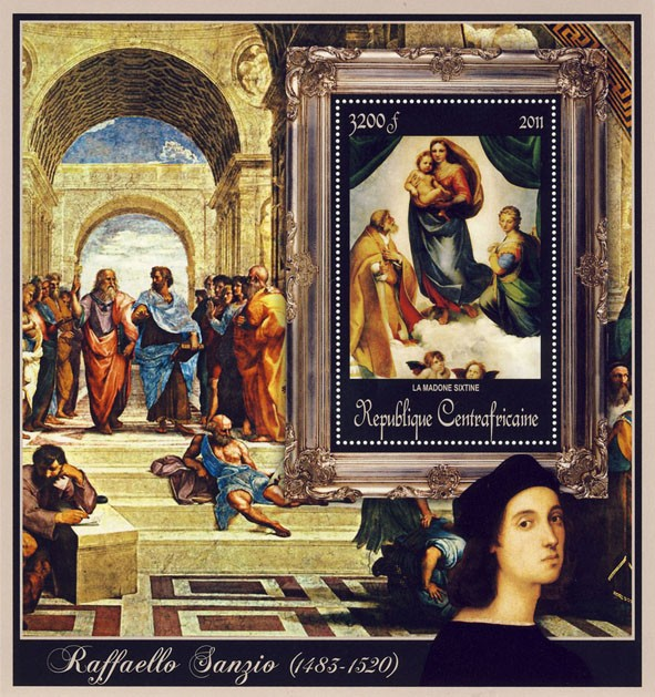 Special Block of Paintings of Raffaello Sanzio, (La Madone Sixtine). - Issue of Central African republic postage stamps