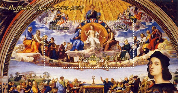 Paintings of Raffaello Sanzio, (1483-1520). (La Dispute du Saint Sacrament). - Issue of Central African republic postage stamps