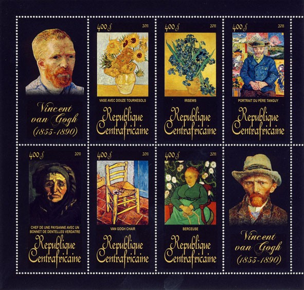 Paintings of Vincent van Gogh, (1853-1890). (Vase Avec Douze Tournesols, Berceuse). - Issue of Central African republic postage stamps