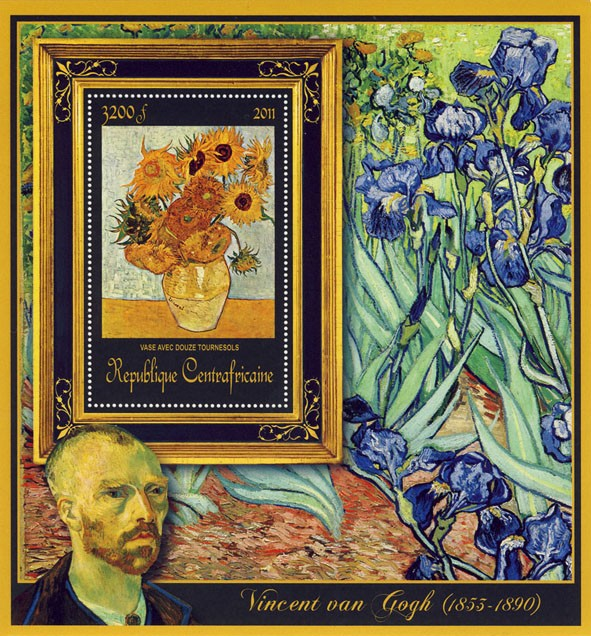 Special Block of Paintings of Vincent van Gogh, (Vase Avec Douze Tournesols). - Issue of Central African republic postage stamps