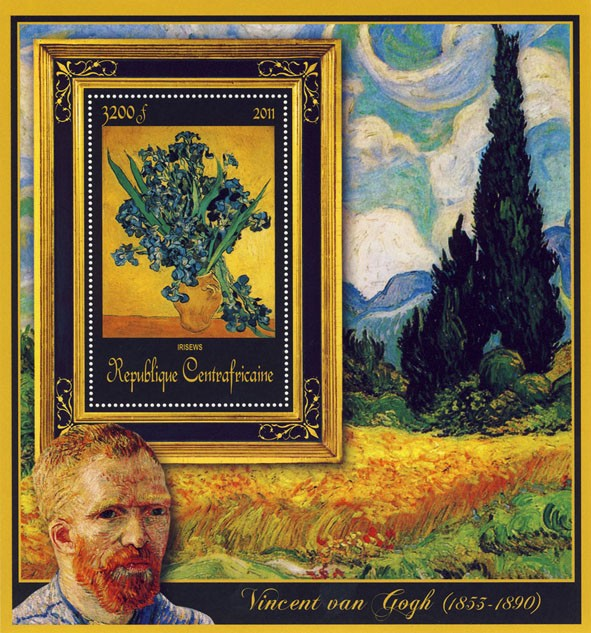 Special Block of Paintings of Vincent van Gogh, (Irisews). - Issue of Central African republic postage stamps