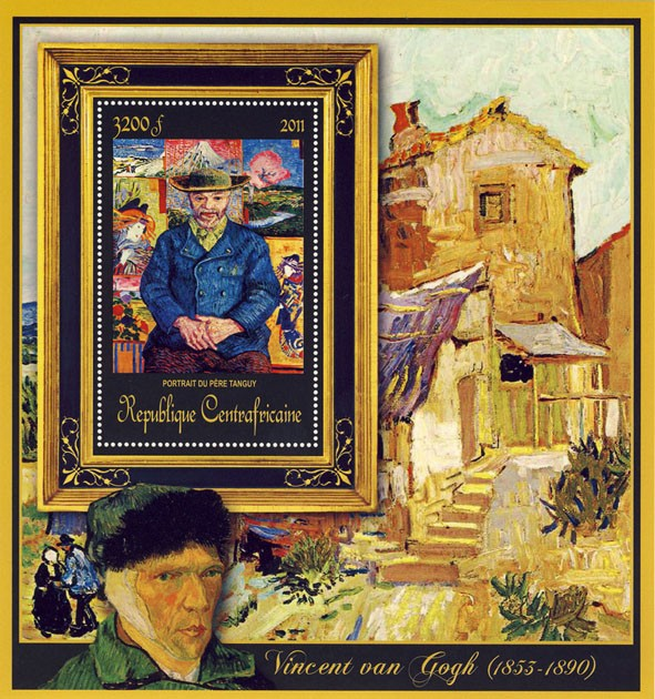 Special Block of Paintings of Vincent van Gogh, (Portrait du Pere Tanguy). - Issue of Central African republic postage stamps