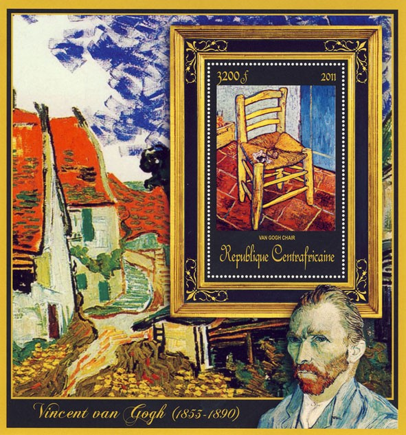 Special Block of Paintings of Vincent van Gogh, (Van Gogh Chair). - Issue of Central African republic postage stamps
