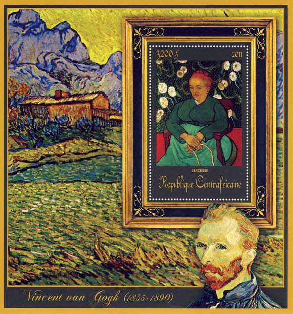 Special Block of Paintings of Vincent van Gogh, (Berceuse). - Issue of Central African republic postage stamps