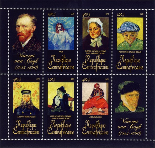 Paintings of Vincent van Gogh, (1853-1890). (Ange, Le Zouave Assis). - Issue of Central African republic postage stamps