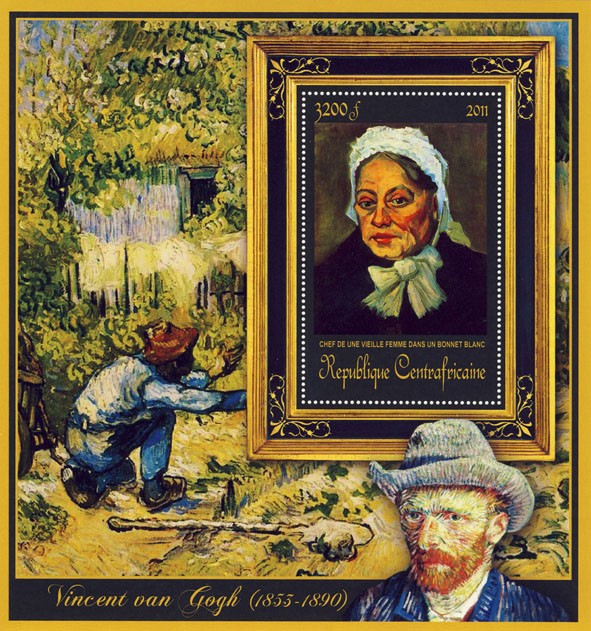 Special Block of Paintings of Vincent van Gogh, (Chief de une Vieille Femme). - Issue of Central African republic postage stamps