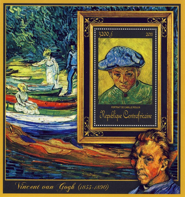 Special Block of Paintings of Vincent van Gogh,(Portrait de Camille Roulin). - Issue of Central African republic postage stamps