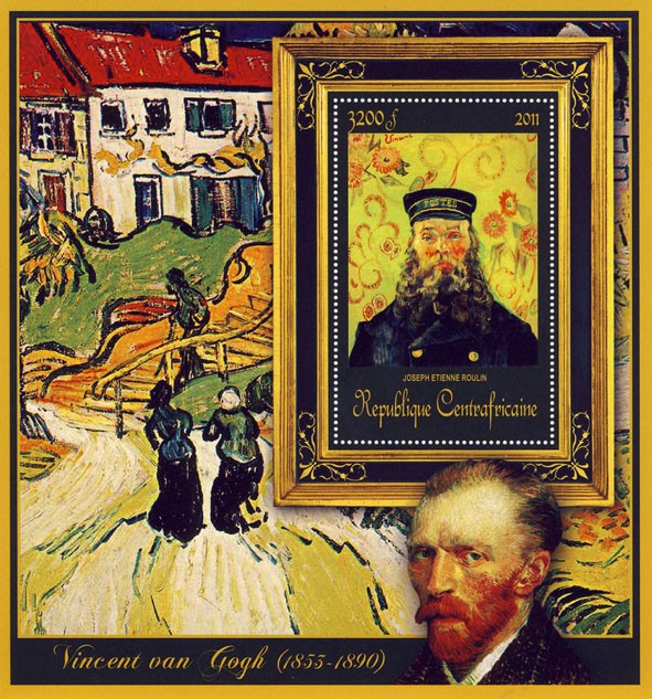 Special Block of Paintings of Vincent van Gogh, (Joseph Etienne Roulin). - Issue of Central African republic postage stamps