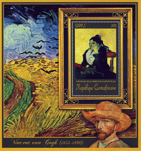 Special Block of Paintings of Vincent van Gogh, (Chef de une vieille Femme). - Issue of Central African republic postage stamps