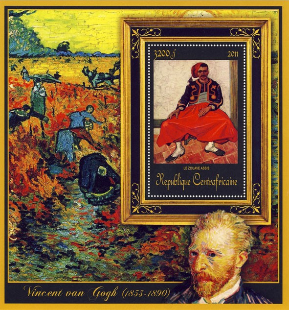 Special Block of Paintings of Vincent van Gogh, (Le Zouave Assis). - Issue of Central African republic postage stamps