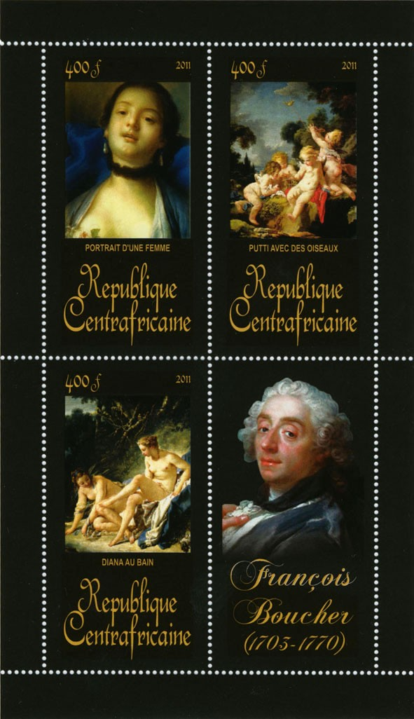 Pantings of Francis Boucher (1703-1770). - Issue of Central African republic postage stamps