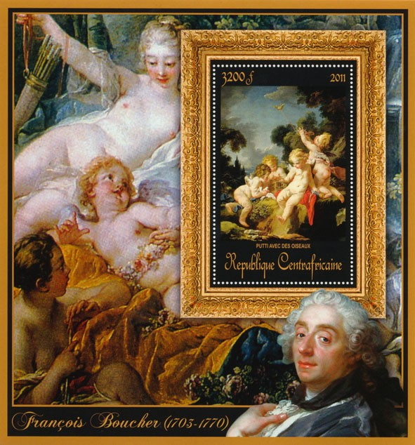 Special Bock of Paintings of Francis Boucher, (Putti avec des oiseaux). - Issue of Central African republic postage stamps