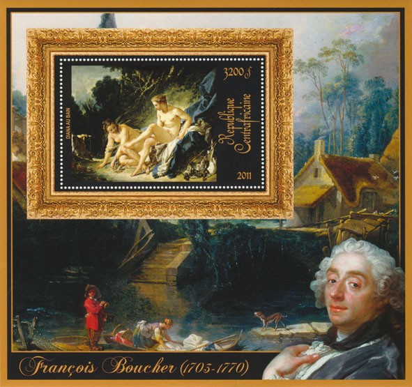 Special Bock of Paintings of Francis Boucher, (Diana au bain). - Issue of Central African republic postage stamps