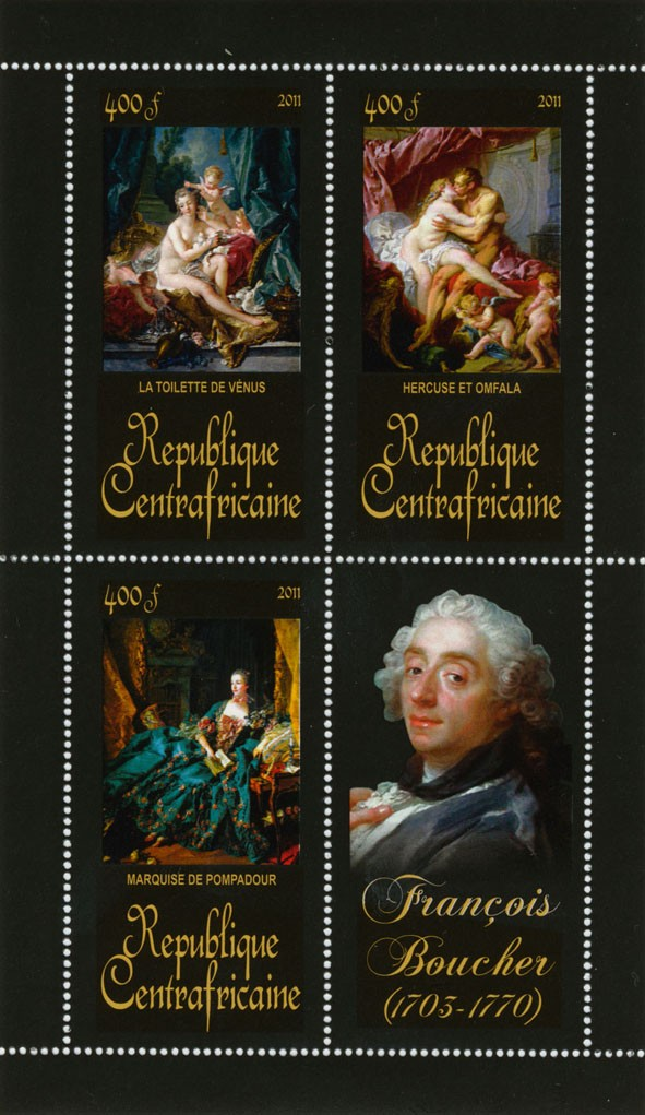Pantings of Francis Boucher (1703-1770). (La toilette de venus, Marquise de pompadour). - Issue of Central African republic postage stamps