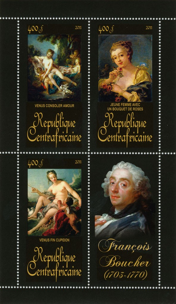Pantings of Francis Boucher (1703-1770). (Venus consoler amour, Venus fin cupidon). - Issue of Central African republic postage stamps