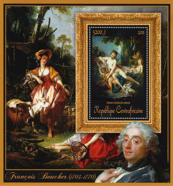 Special Bock of Paintings of Francis Boucher, (Venus consoler amour). - Issue of Central African republic postage stamps