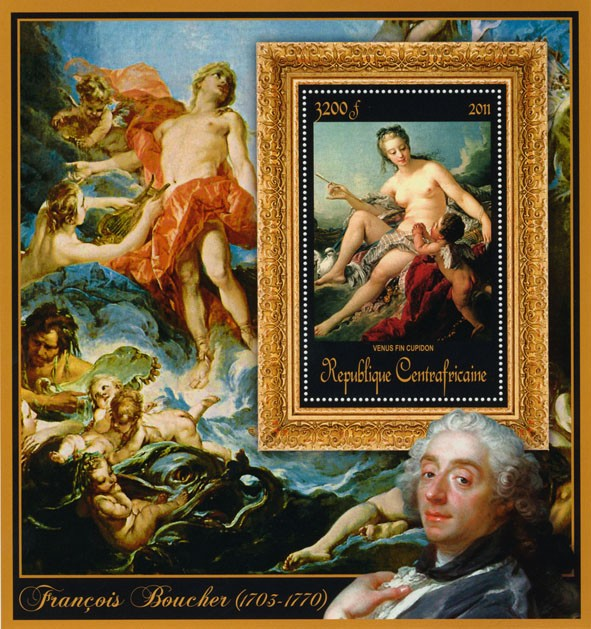 Special Bock of Paintings of Francis Boucher, (Venus fin cupidon). - Issue of Central African republic postage stamps