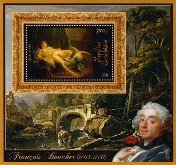 Special Bock of Paintings of Francis Boucher, (Leda et le cygne). - Issue of Central African republic postage stamps