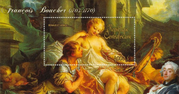 Pantings of Francis Boucher (1703-1770). (Renaud et Armide). - Issue of Central African republic postage stamps