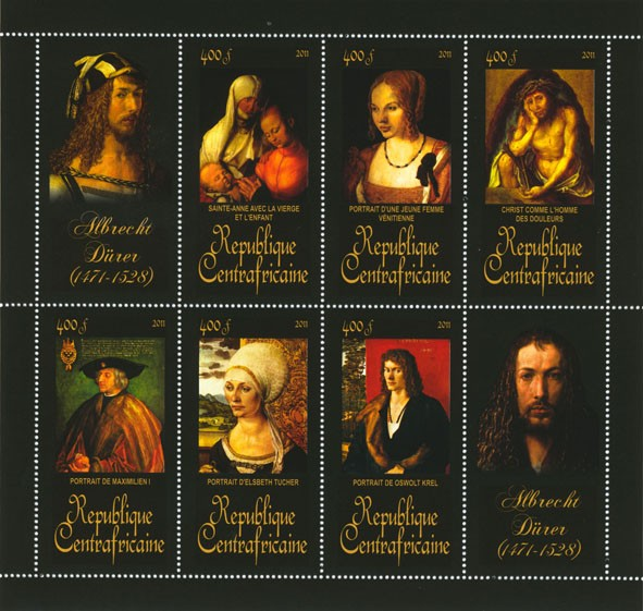 Paintings of Albrecht Durer , (1471-1528). (Sainte-anne, Portrait de Oswolt Krel). - Issue of Central African republic postage stamps