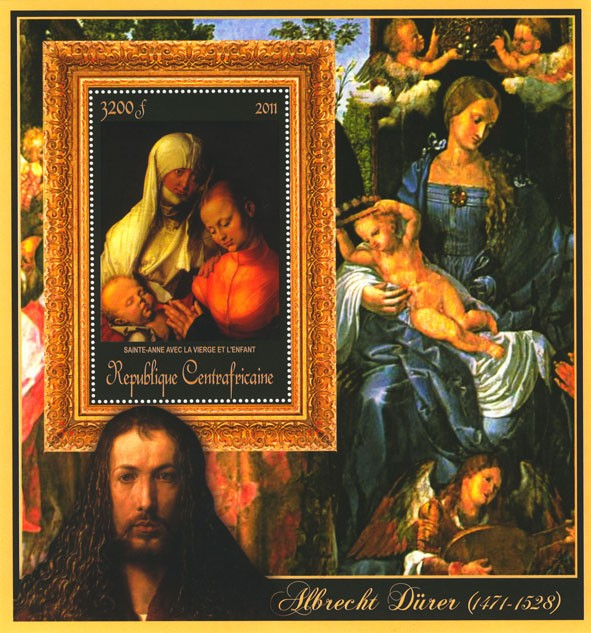 Special Block of Paintings of Albrecht Durer,  (Sainte-anne). - Issue of Central African republic postage stamps