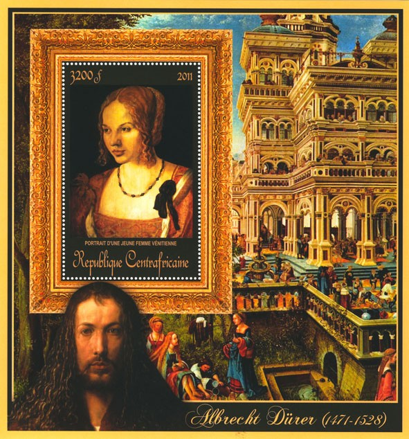 Special Block of Paintings of Albrecht Durer,  (Portrain d une jeune femme venitienne). - Issue of Central African republic postage stamps