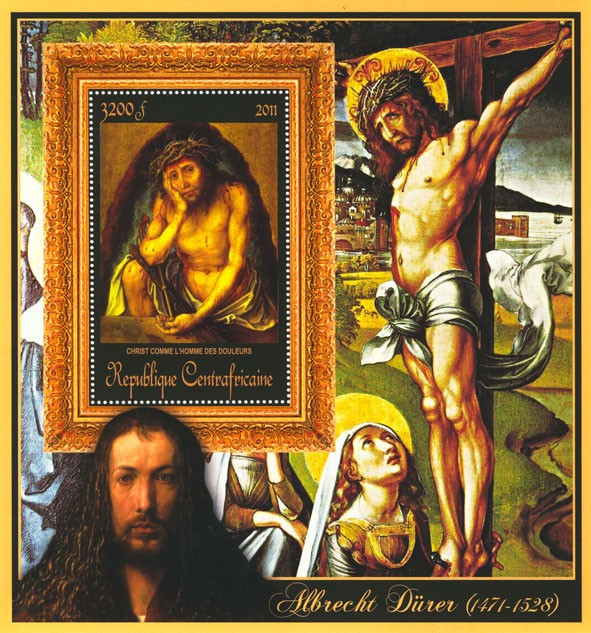 Special Block of Paintings of Albrecht Durer,  (Christ comme l homme des douleurs). - Issue of Central African republic postage stamps