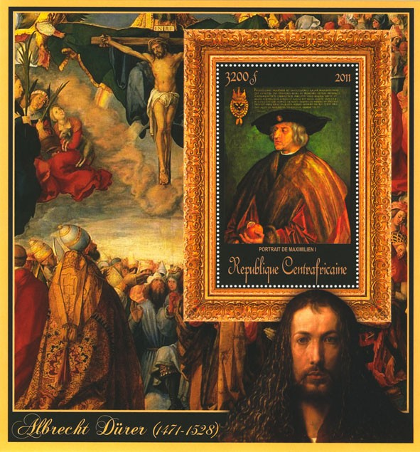 Special Block of Paintings of Albrecht Durer ,  (Portrait de Mazimilien I). - Issue of Central African republic postage stamps